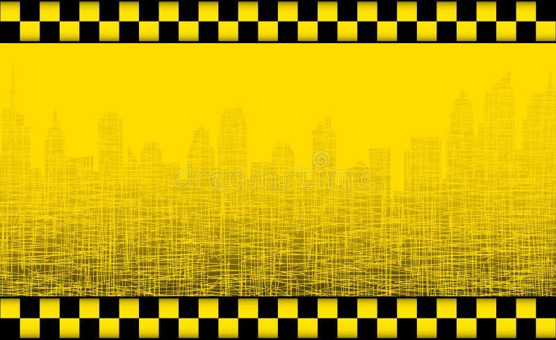 Bakgrund med taxar undertecknar och stadssilhouetten vektor illustrationer