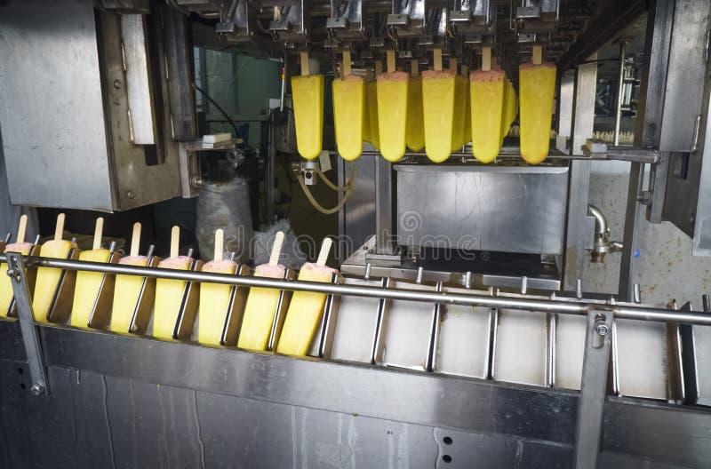 Transportband automatische lijnen voor de productie van roomijs stock afbeelding