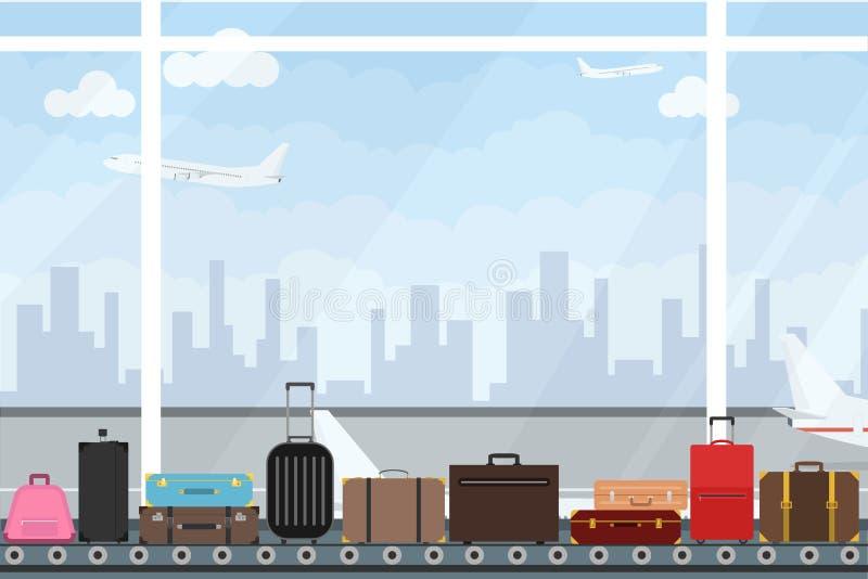 Transportband bij de luchthaven met bagage Band met insect bij de luchthaventerminal stock illustratie