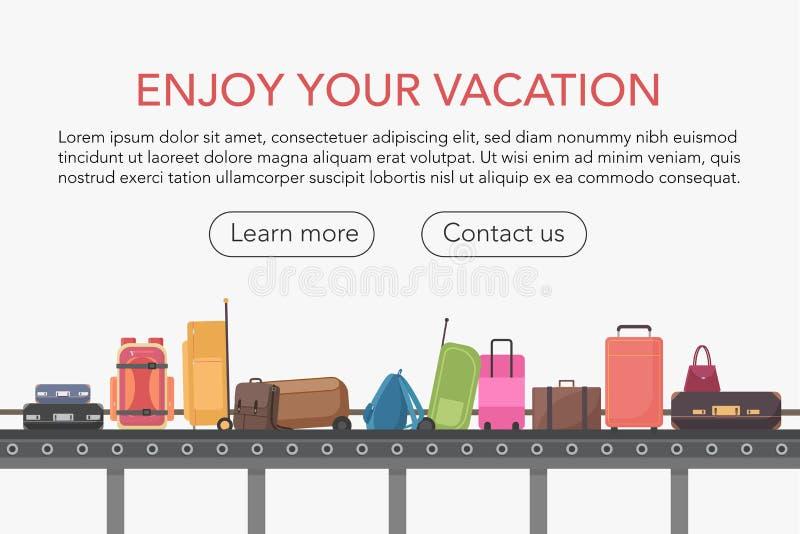 Transportband in de zaal van de luchthavenbagage Bagageband vectorillustratie royalty-vrije illustratie