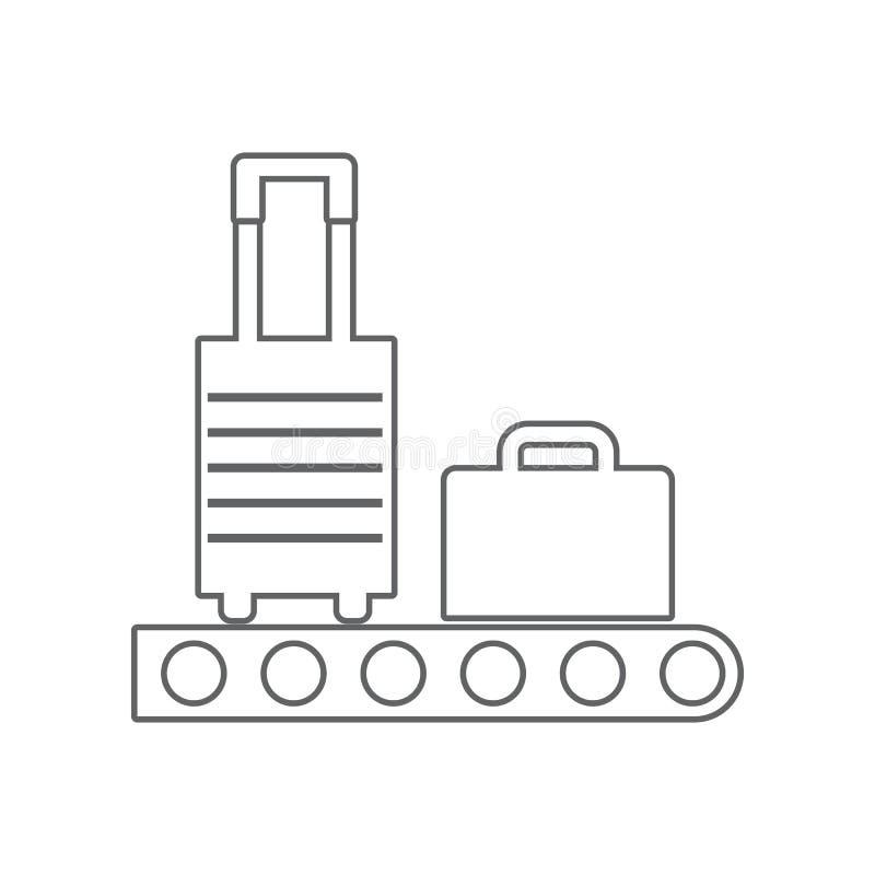 Transportband met bagagepictogram Element van Luchthaven voor mobiel concept en webtoepassingenpictogram Overzicht, dun lijnpicto stock illustratie