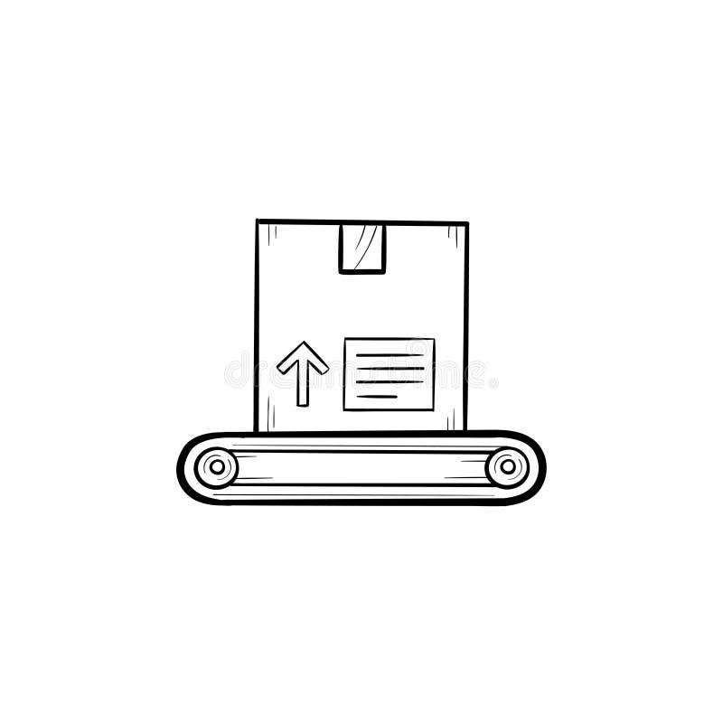 Transportband met de krabbelpictogram van het dooshand getrokken overzicht vector illustratie