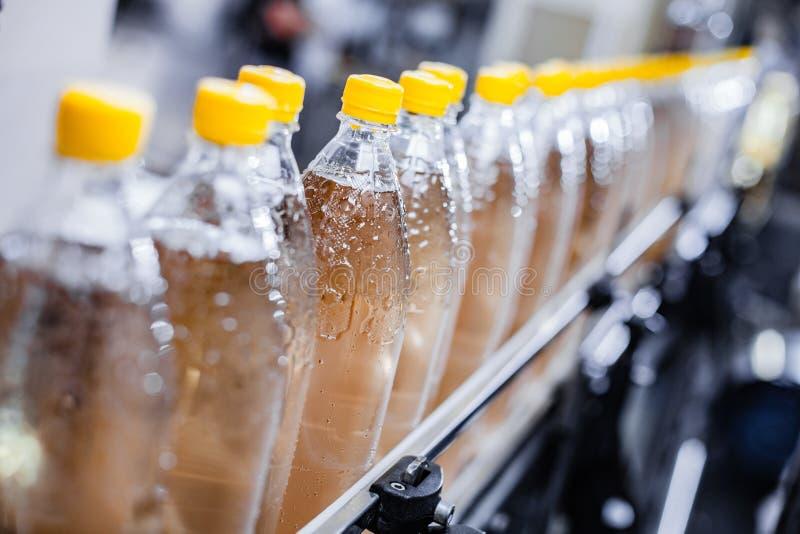 Transportband met gevulde plastic flessen stock foto