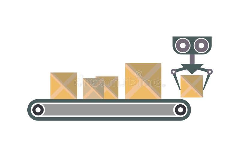 Transportband met het pictogram van verpakkingsdozen stock illustratie