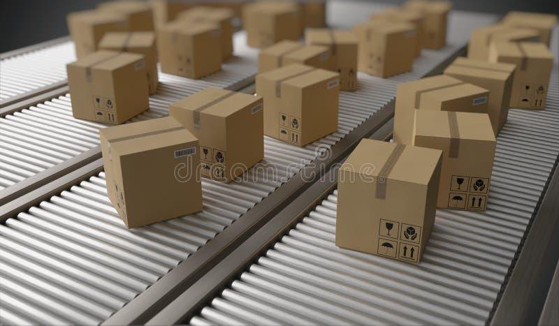 Transportband met vele kartondozen Het concept van de pakketlevering 3D teruggegeven illustratie royalty-vrije illustratie