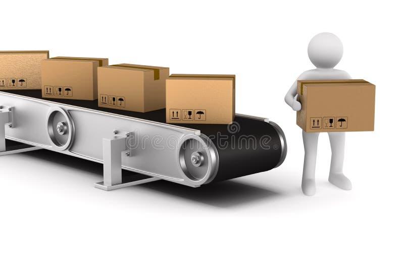 Transportband op witte achtergrond Geïsoleerde 3d illustratie stock illustratie