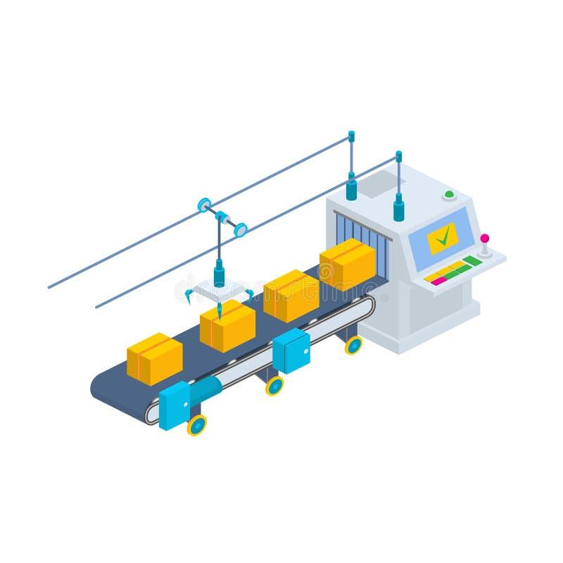 Transportband vectorillustratie Isometrische industriële productieli vector illustratie
