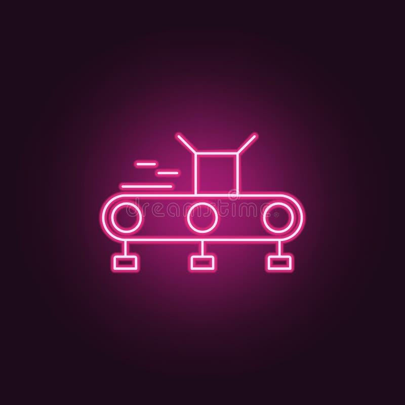 Transportbandpictogram Elementen van Productie in de pictogrammen van de neonstijl Eenvoudig pictogram voor websites, Webontwerp, stock illustratie
