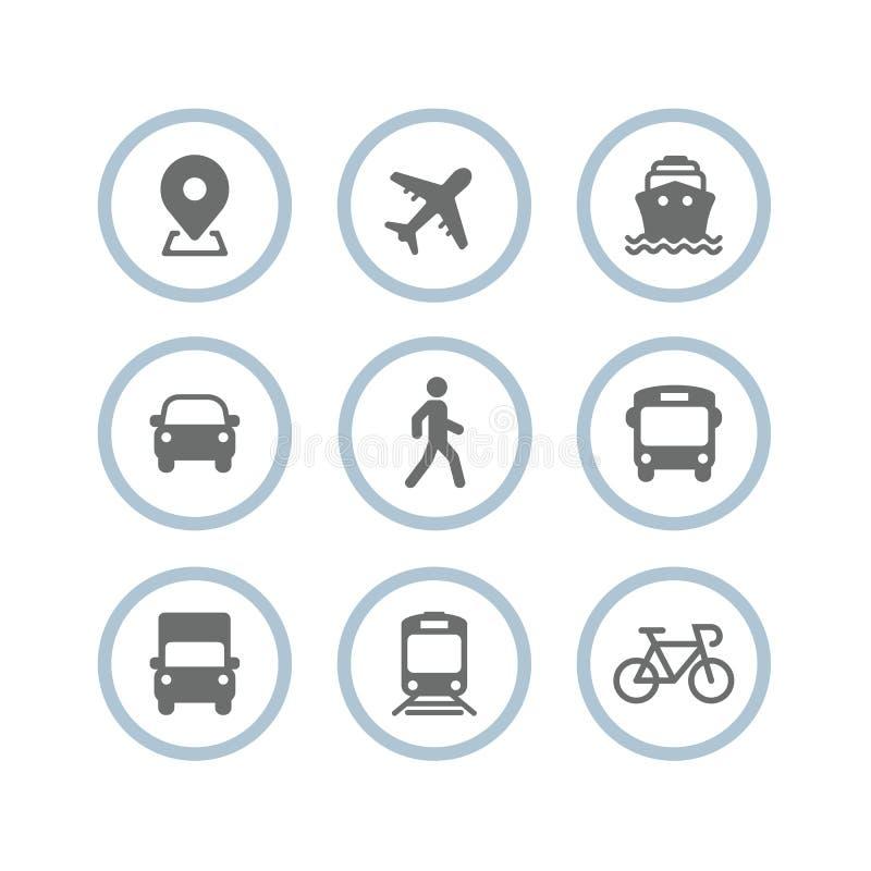 Transporte ícones Avião, ônibus público, trem, navio/balsa, carro, homem da caminhada, bicicleta, caminhão e auto sinais Símbolo  ilustração stock
