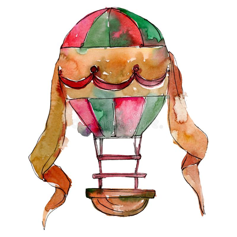 Transporte aéreo de la mosca del fondo del globo del aire caliente Conjunto del fondo de la acuarela Elemento aislado del ejemplo libre illustration