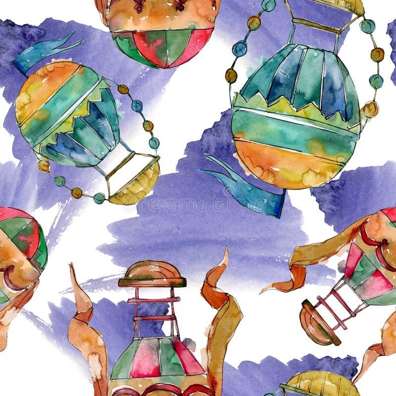 Transporte aéreo de la mosca del fondo del globo del aire caliente Conjunto del fondo de la acuarela Modelo inconsútil del fondo foto de archivo