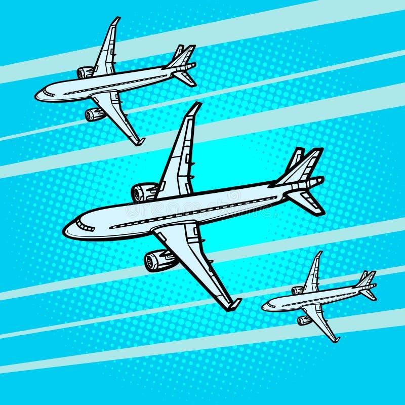 Transporte aéreo de varios del pasajero aviones de los aviones de pasajeros ilustración del vector