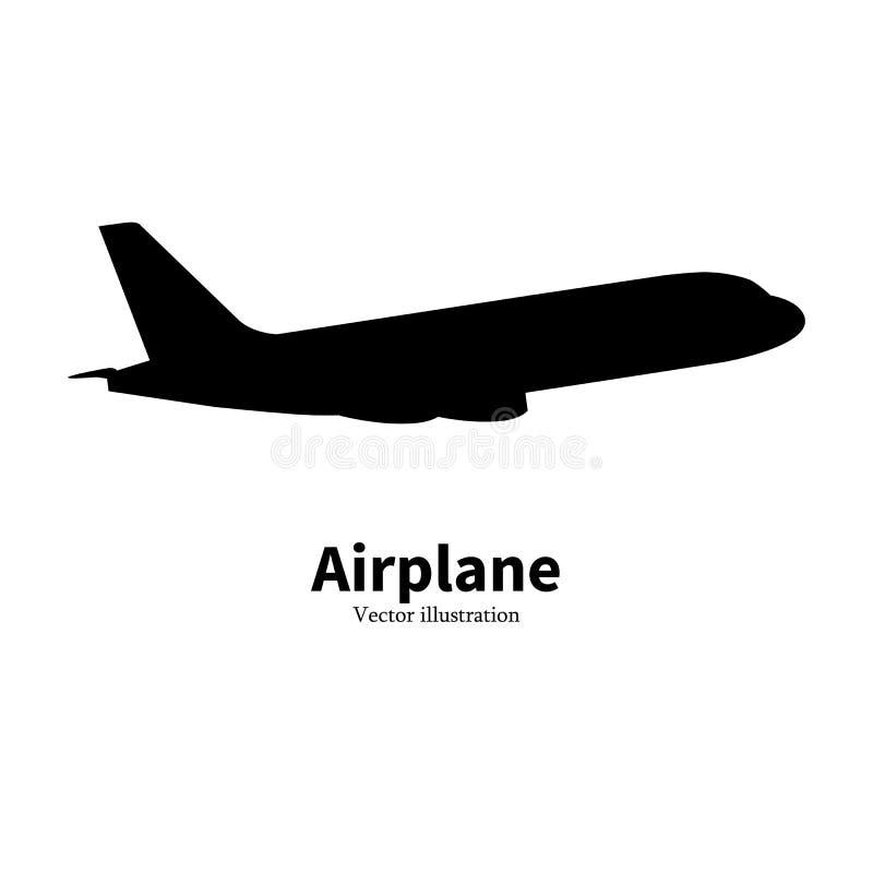 Transporte aéreo negro de la silueta del aeroplano del vector ilustración del vector