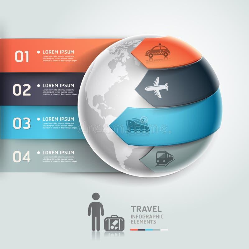 Transporte abstracto del viaje del infographics del globo. ilustración del vector
