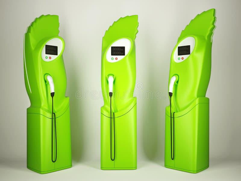 Transporte amistoso de Eco: estaciones de carga para los vehículos eléctricos libre illustration