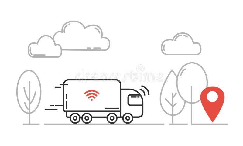 Transporte autônomo - auto que conduz o caminhão que move-se pela estrada Vec ilustração do vetor