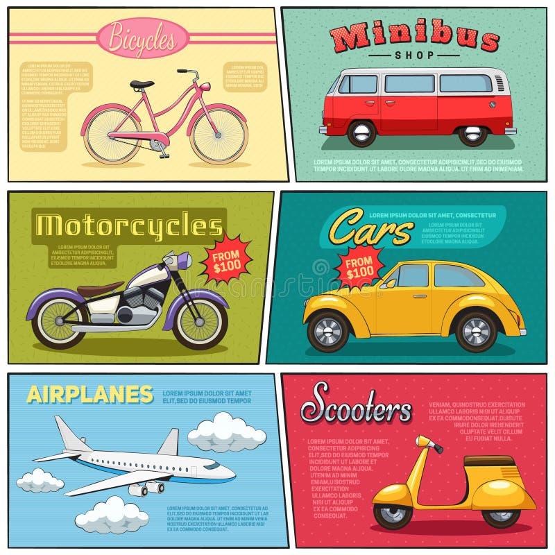 Transporte cómico Mini Posters Set libre illustration