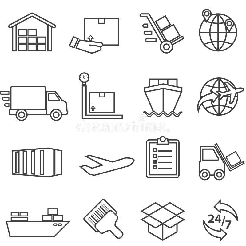 Transporte, carga, entrega, distribuição, frete e armazém l ilustração stock