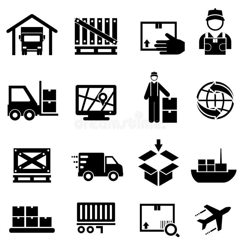 Transporte, carga, entrega e ícones da Web do armazém ilustração royalty free