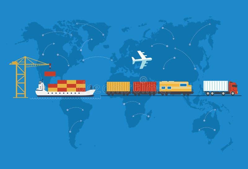 Transporte, carro de entrega, navio, plano ilustração do vetor