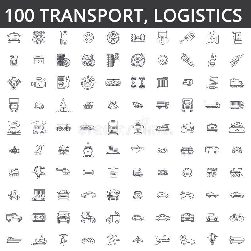 Transporte, carro, logística, veículo, transporte público, ônibus, bonde, navio, transporte, auto serviço, linha ícones do caminh ilustração stock
