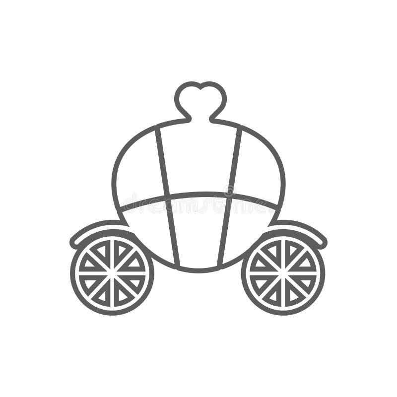 transporte com um ?cone do cora??o E Esbo?o, linha fina ?cone para o projeto do Web site ilustração royalty free
