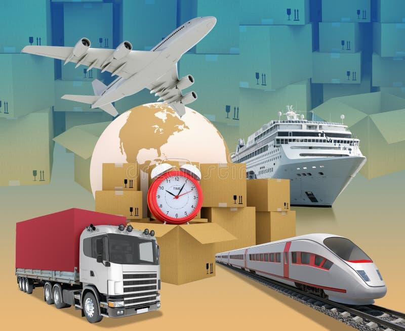 Transporte con tierra y cajas libre illustration