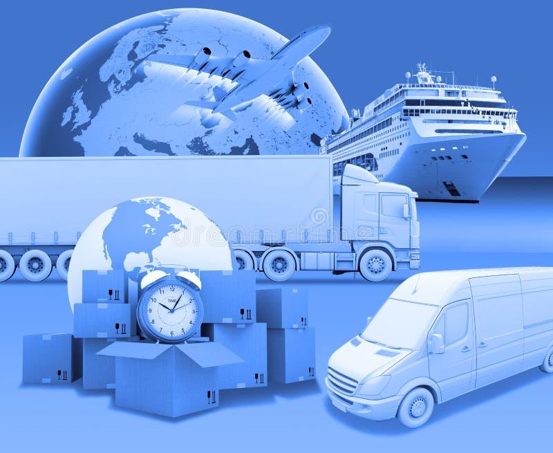 Transporte con tierra y el despertador en azul libre illustration