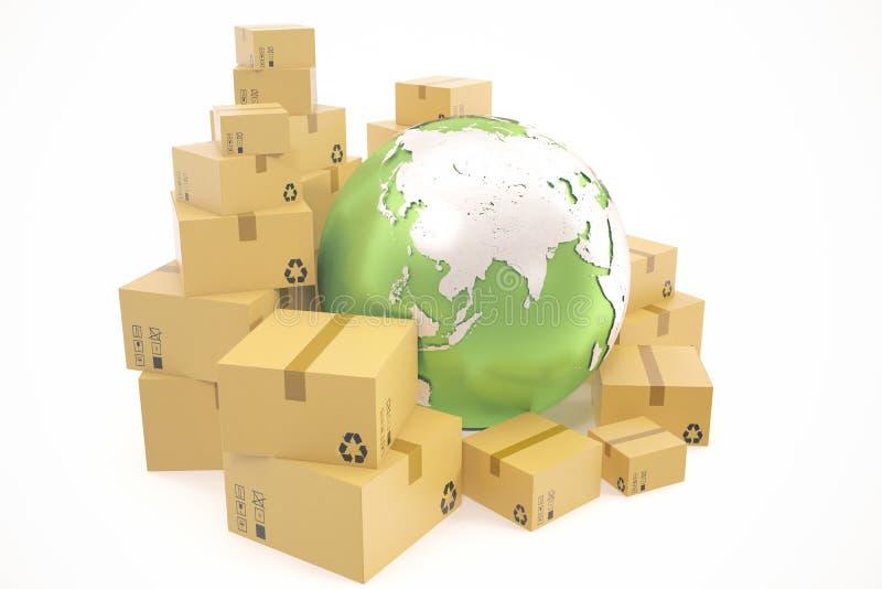 Transporte da caixa de cartão e conceito mundial do negócio da entrega, globo do planeta da terra rendição 3d Elementos desta ima ilustração do vetor
