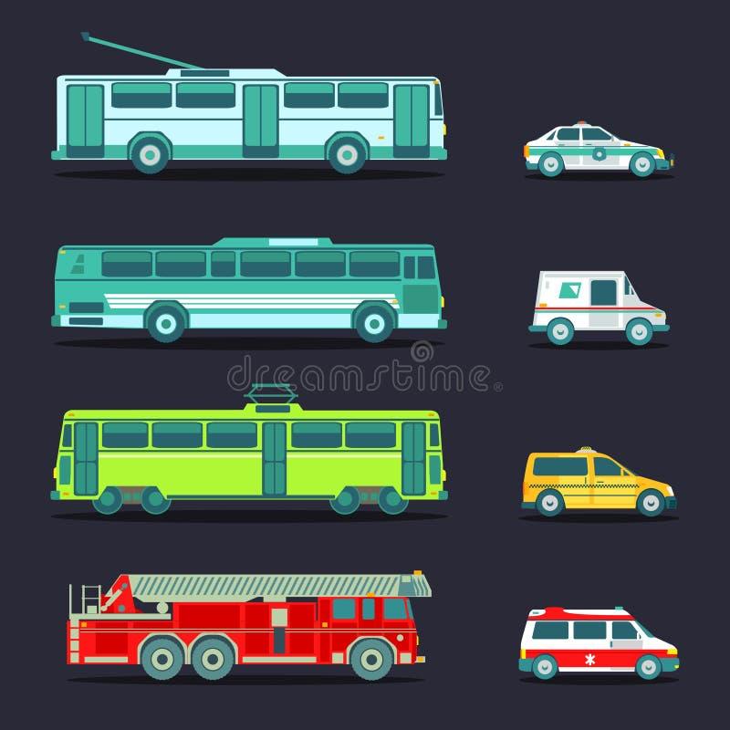 Transporte da cidade do vetor ajustado no estilo liso Infographics urbano dos veículos Bonde, ícones municipais diferentes do ôni ilustração royalty free