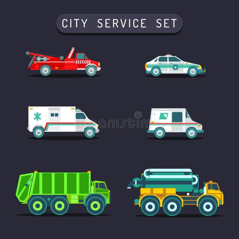 Transporte da cidade do vetor ajustado no estilo liso O special diferente do municipal da cidade, carros do serviço de urgências, ilustração do vetor