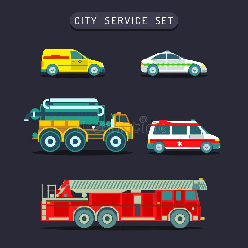 Transporte da cidade do vetor ajustado no estilo liso O special diferente do municipal da cidade, carros do serviço de urgências, ilustração royalty free