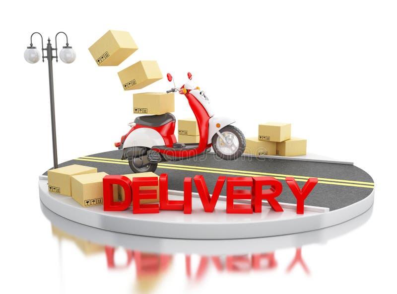 transporte da entrega 3d com caixas de cartão ilustração stock