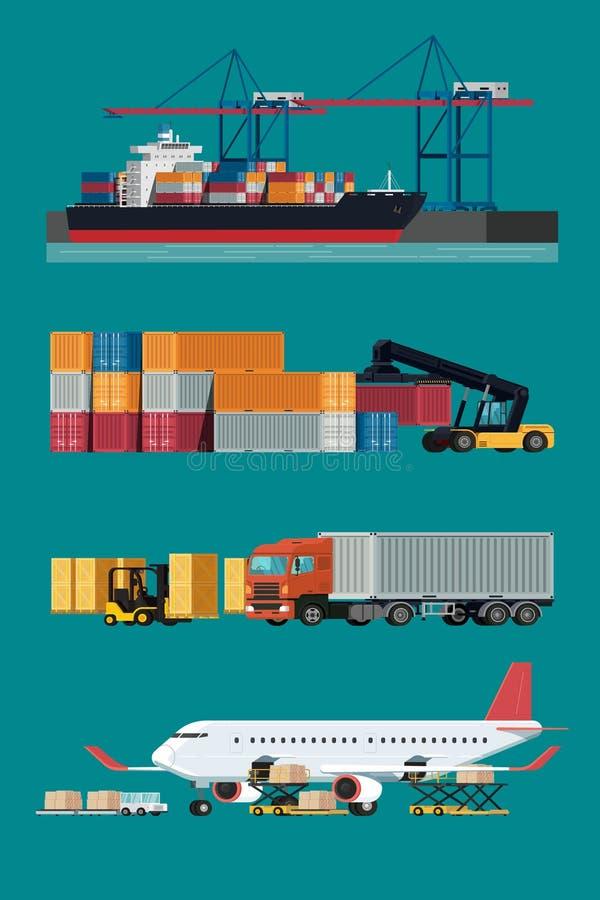 Transporte da logística da carga, navio de recipiente e avião de carga w ilustração stock