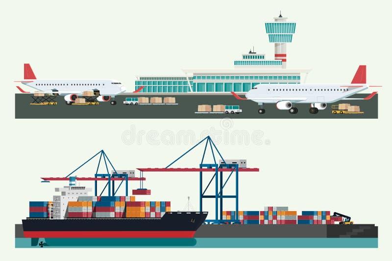 Transporte da logística da carga, navio de recipiente e avião de carga w ilustração royalty free