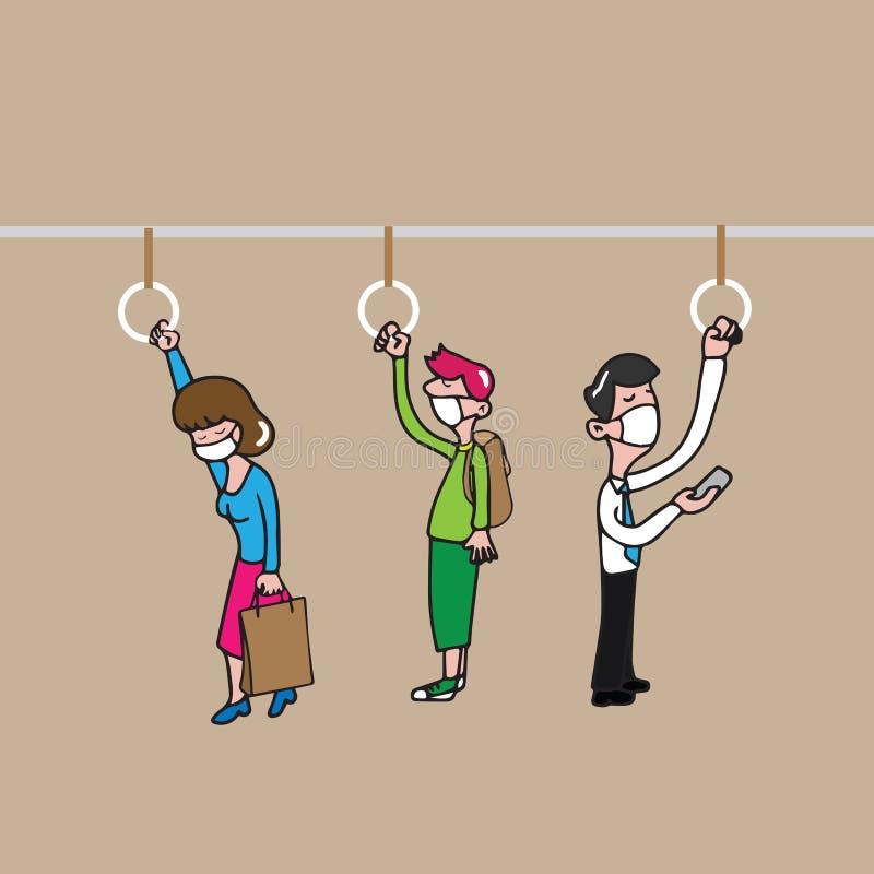 Transporte da máscara dos povos ilustração stock