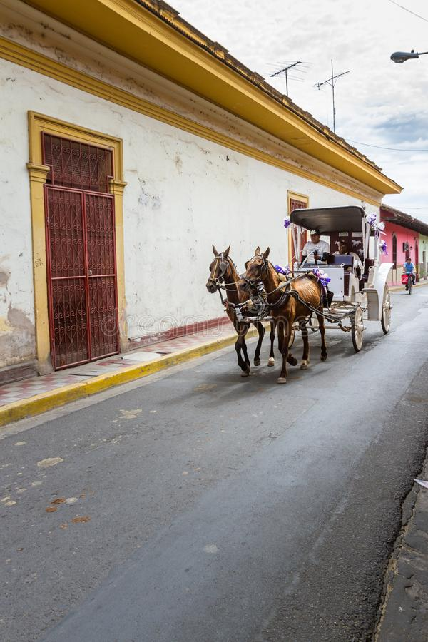 Transporte da mangueira em Granada, Nicarágua fotos de stock royalty free
