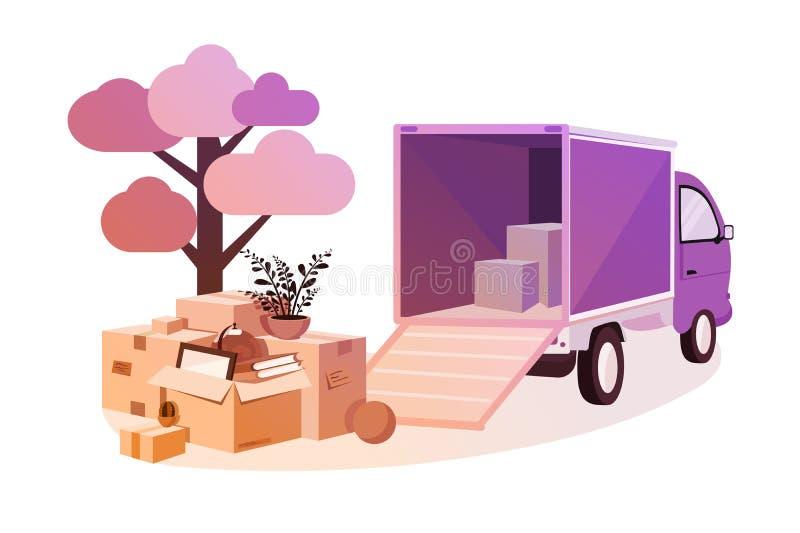 Transporte das coisas durante o movimento ilustração royalty free