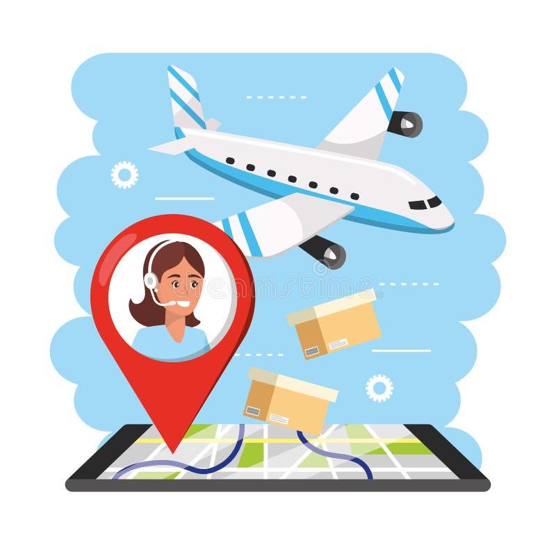 Transporte de Aiplane con los gps de la información y del smartphone del agente del centro de atención telefónica de la mujer stock de ilustración