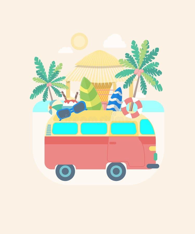 Transporte de autobús del verano del color de la historieta Vector ilustración del vector