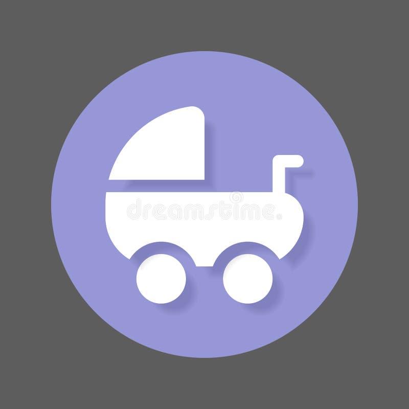 Transporte de bebê, ícone liso do pram Botão colorido redondo, sinal circular do vetor com efeito de sombra Projeto liso do estil ilustração royalty free