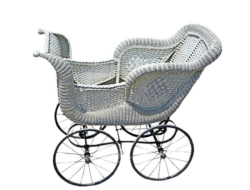 Transporte de bebê azul do vintage imagens de stock royalty free