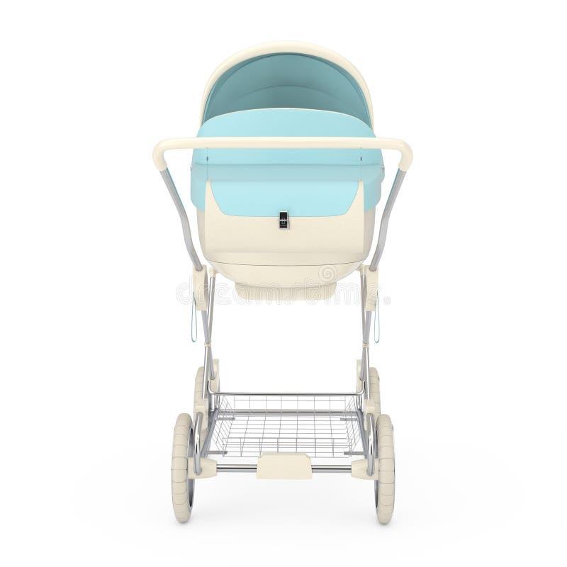 Transporte de bebê azul moderno, carrinho de criança, Pram rendi??o 3d foto de stock royalty free
