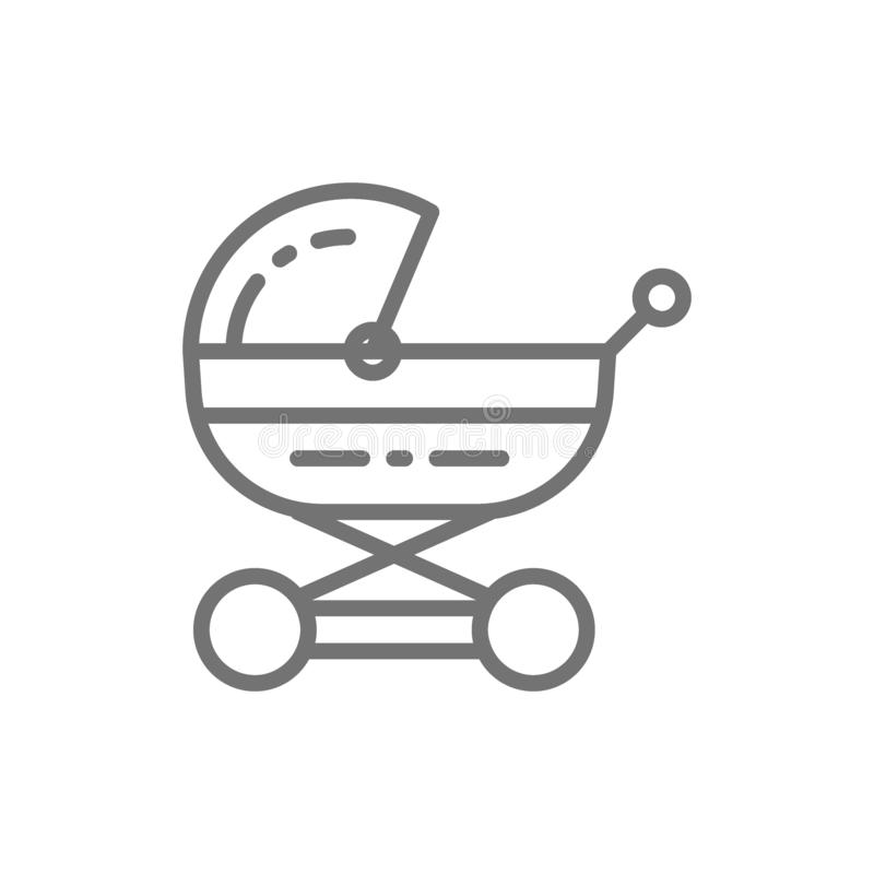 Transporte de bebê, carrinho de criança para recém-nascido, linha ícone do pram ilustração royalty free