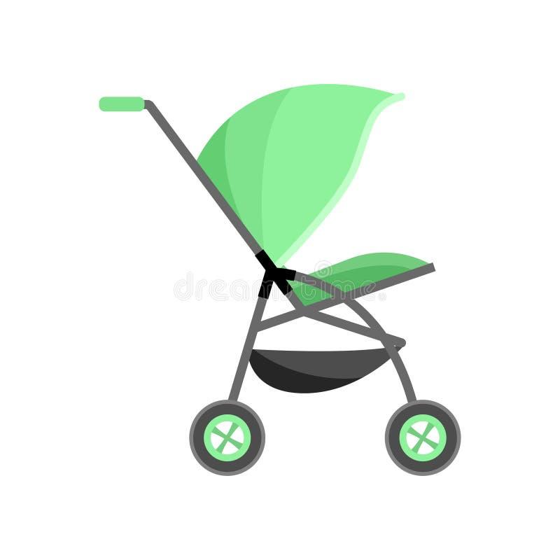 Transporte de bebê da cor verde, pram da criança com cesta adicional ilustração do vetor