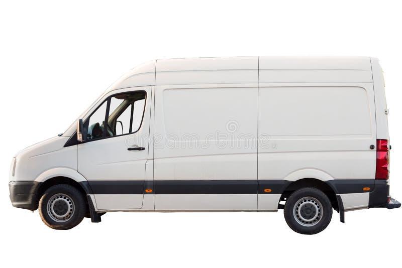 Transporte de carga branco estacionado para o negócio no fundo isolado branco imagens de stock