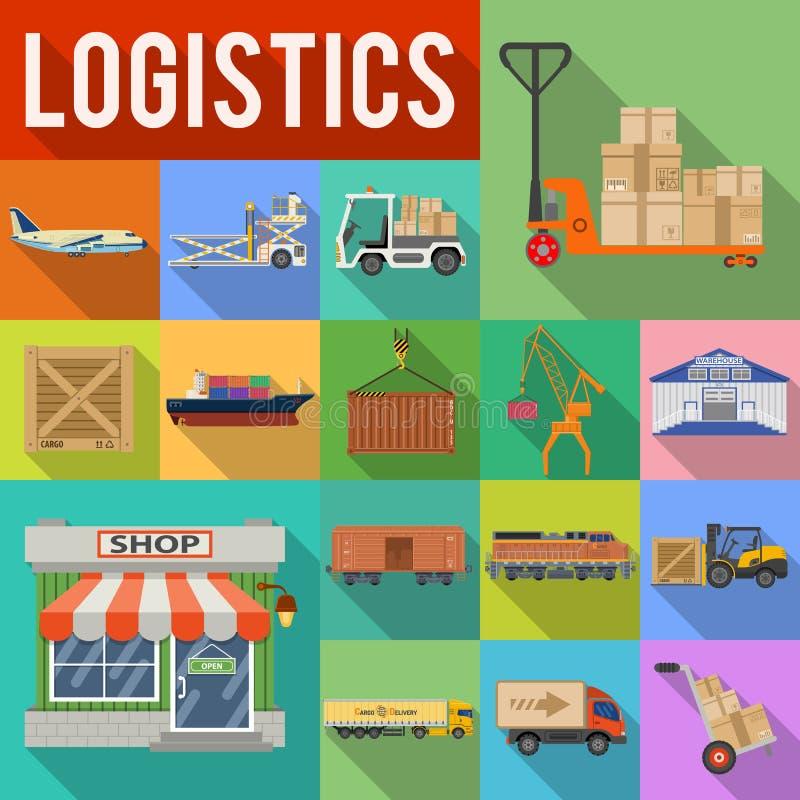 Transporte de cargo y sistema del icono de la logística ilustración del vector