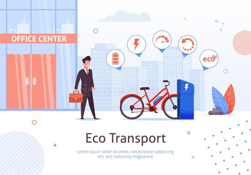 Transporte de Eco Homem de negócios com bicicleta elétrica ilustração stock