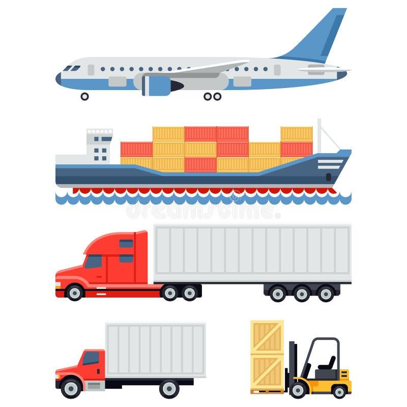Transporte de la carga y logística de la entrega plana stock de ilustración