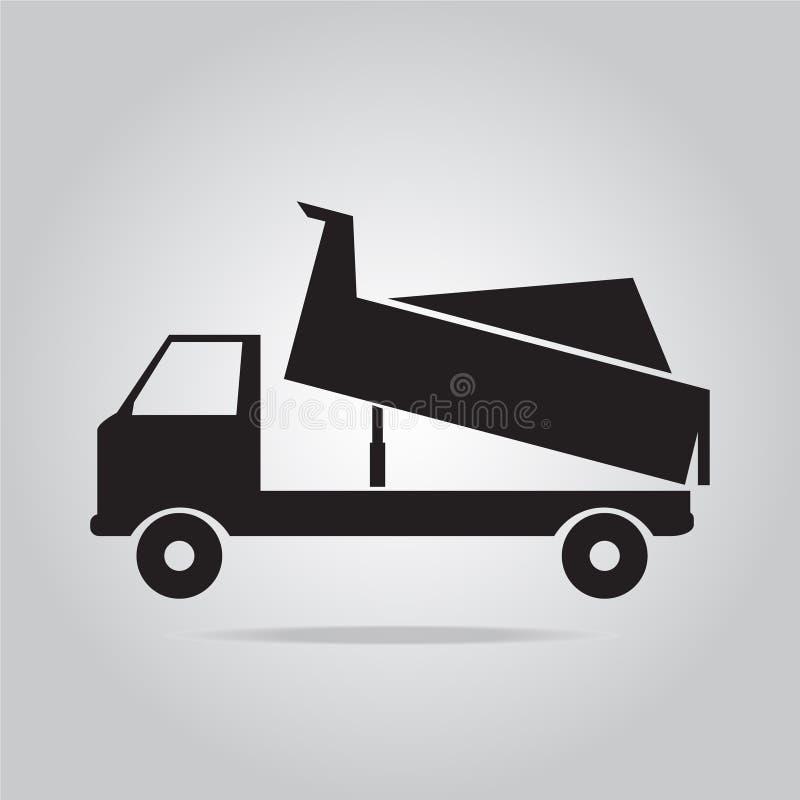 Transporte de la muestra del icono del camión volquete stock de ilustración